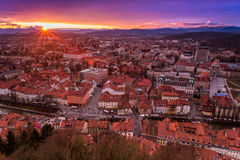View of Ljubljana centre from the castle, Slovenia. View of Ljubljana city centre, the capital of Slovenia, from the castle Royalty Free Stock Photo