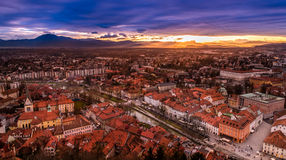 A view of Ljubljana city centre from the castle, Slovenia. A sunset view of the centre of Ljubljana from the castle hill, Slovenia Royalty Free Stock Images