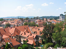 View of the Ljubljana. Tiled roofs of the city stock photo