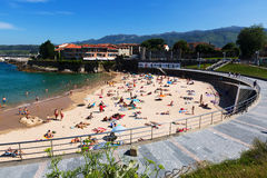View of Llanes with beach in summer Stock Photos