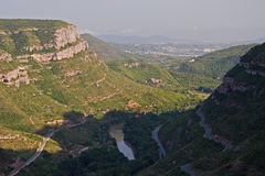 View of Llobregat river valley Royalty Free Stock Photo
