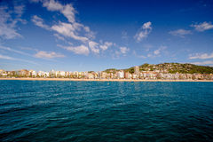 View on Lloret de Mar from sea. View of the beach from the sea in Lloret de Mar Stock Photography