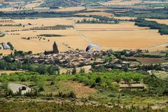 View of Loarre village in Aragon from the Castle of Loarre. Prairie and medieval village of Loarre whose Castle of Loarre was a fortress againt muslims in the Royalty Free Stock Images