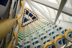 View of lobby at Burj al Arab. View to the top of the lobby in the Burj al Arab, the tallest hotel lobby in the world Stock Image