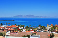 Lobos Island from Corralejo in Fuerteventura, Canary Islands, Sp Royalty Free Stock Images