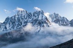 View of Lobuche Peak from Kala Patthar, Solu Khumbu, Nepal. View of Lobuche Peak from Kala Patthar above clouds, Solu Khumbu, Nepal Royalty Free Stock Image