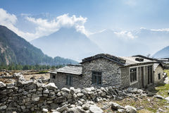 View of local house in Himalayan mountains, Nepal royalty free stock photo
