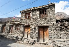 View of local stony building in Manang village Royalty Free Stock Image