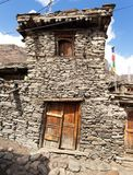 View of local stony building in Manang village stock image