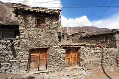 View of local stony building in Manang village Royalty Free Stock Images