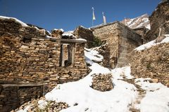 View of local stony building in Upper Pisang village on Annapurna circuit trekking route, Manang area, Nepal.  royalty free stock photography
