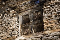 View of local stony building in Upper Pisang village on Annapurna circuit trekking route, Manang area, Nepal.  stock images