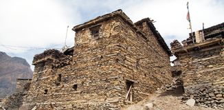 View of local stony building in Upper Pisang village Royalty Free Stock Photo