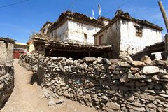 View of local stony building and wall in Jharkot village royalty free stock images