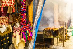 Locals products and barbecue on market in Chichicatenango - Guatemala stock image
