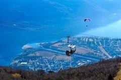 View of Locarno and Lake Maggiore from the Cardada-Cimetta mount Stock Photo