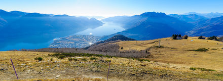 View of Locarno and Lake Maggiore from the Cardada-Cimetta mount Stock Photos