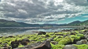 View of Loch Carron from the village of Lochcarron stock video footage