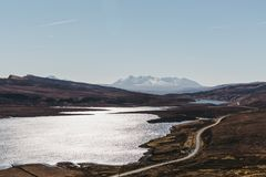 View of the Loch Leathan and it`s surroundings from Old Man of Storr trek, Isle of Skye, Scotland. View of the Loch Leathan and it`s surroundings from Old Man Royalty Free Stock Image