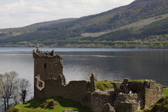 View of the Loch Ness. Urquhart Castle located on the shore of Loch Ness in Scotland Royalty Free Stock Photography