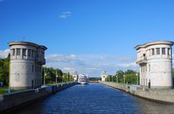 View of the lock on the Channel named after Moscow. Stock Photo