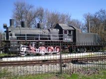 View on the locomotive soviet train Em-731-23. Melitopol,Zaporozhye region, Ukraine - April 5, 2016: View on the locomotive soviet train Em-731-23 located on the Royalty Free Stock Photography