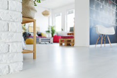 View of loft. Low angle view of trendy white loft Royalty Free Stock Photo