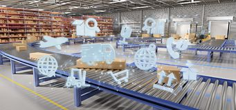Logistic organisation on a warehouse background 3d rendering. View of a Logistic organisation on a warehouse background 3d rendering royalty free stock images