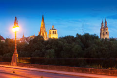 View of Logrono from bridge over Ebro in evening Royalty Free Stock Images