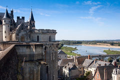 View of the Loire from Chateau dAmboise. View from the battlement of Chateau dAmboise looking west royalty free stock photography