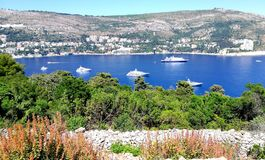 View by lokrum islan to Dubrovnik Croatia Royalty Free Stock Images