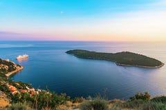 View of Lokrum island during sunset Royalty Free Stock Photos