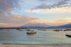 View of Lombok from Gili T Stock Photography