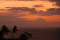 View from Lombok to Bali Vulcano Mount Agung. View from Lombok to Bali Vulcano Gunung Agung with beautiful sunset Stock Image