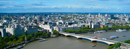 View of London. Cityscape view of buildings and Thames River from London Eye Stock Photos