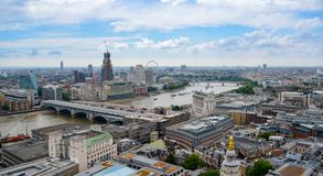View of London from above. River Thames, London from St Paul`s Cathedral, UK. View of London from above. River Thames, London from St Paul`s Cathedral, London royalty free stock photography