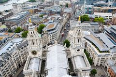 View of London from above. St Paul`s Cathedral, UK royalty free stock photos