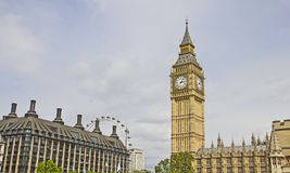 View of London with the Big Ben and the London Eye Royalty Free Stock Photos