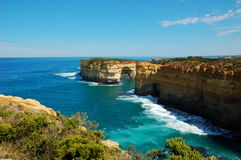 View on London Bridge from Lorch Ard Gorge, Great Ocean Road, Australia. Royalty Free Stock Photography