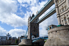 View of London bridge on nice sunny day with dramatic clouds Royalty Free Stock Images