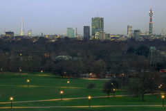 View of London Cityscape. View of the city at dusk from Primrose Hill in London England UK royalty free stock photos