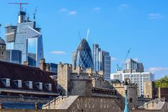 London Cityscape with The City (Financial District) and Old Buildings. View of London cityscape with old buildings in the foreground and The City &#x28 stock photo