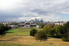 A view of London Docklands from Greenwich Stock Photography