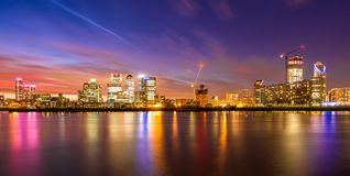 London Docklands at night. A view from the London Docklands at night royalty free stock images