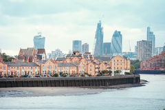 View of London Docklands with the Thames River, downtown, cucumber and city center Royalty Free Stock Image
