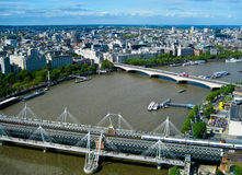 View from the London eye. Cityscape view of buildings and Thames River from London Eye Royalty Free Stock Photography