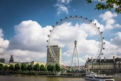 The view of London Eye and Aquarium royalty free stock photo