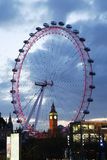 View of The London Eye with Big Ben Royalty Free Stock Photography