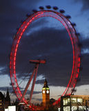 View of The London Eye with Big Ben Stock Photography