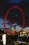 View of The London Eye with Big Ben Stock Images